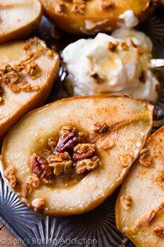Simple Maple Vanilla Baked Pears (Video).