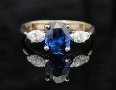 Stunning Vintage Ceylon Sapphire Engagement Ring, Platinum, Fine Diamond RGSA539. Love my birthstone!