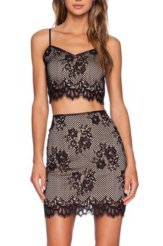 Black Spaghetti Strap Lace Crop Top With Embroidered Skirt 19.00