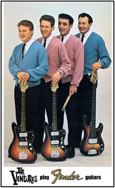 The Ventures Play Fender Guitars-Early Retro Poster-Surf Instrumental Surf Guitar, Surf Music, Music Guitar, Playing Guitar, Rock Music, Learning Guitar, Guitar Art, Fender Stratocaster, Gretsch