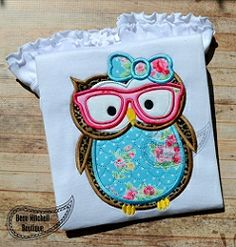 Owl Girl Scholar Applique - 5 Sizes! | Birds and Birdhouses | Machine Embroidery Designs | SWAKembroidery.com Beau Mitchell Boutique