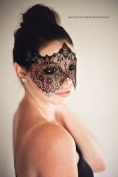 Strapless Halloween Mask - Elegant Black Lace Veil Women's ...