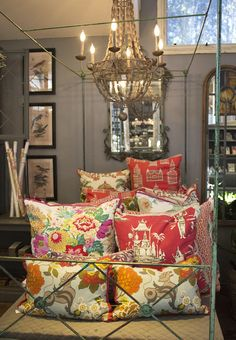 Patterned pillows in luscious colors will update your sofa for serious lounging.  http://rogersgardens.com/home-decor/