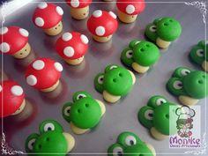 Doces modelados, Shaped candy, Sweet, Leite em pó, Leite Ninho. Pagina: Monike Doces Artesanais Tema: Mario Bros Cogumelo e Yoshi