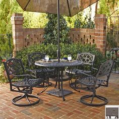 Home Styles�5-Piece Biscayne Mesh-Seat Aluminum Patio Dining Set