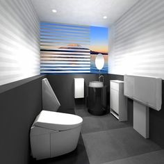 "A booth for men in the ""Gallery Toto"" to be opened at Narita Airport in April is equipped with a urinal and a toilet bowl. (Provided by Toto Ltd.)"