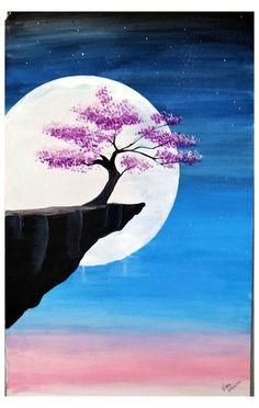 Easy Nature Paintings, Watercolor Paintings Nature, Easy Landscape Paintings, Simple Canvas Paintings, Small Canvas Art, Tree Paintings, Diy Canvas, Beautiful Paintings Of Nature, Landscape Drawing Easy