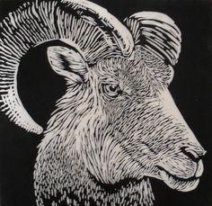 Ram  Linocut on Japanese Kozuke paper (44gsm white) by Rowanne Anderson http://www.rowanneanderson.com/ Tags: Linocut, Cut, Print, Linoleum, Lino, Carving, Block, Woodcut, Helen Elstone, Animals, Goat, Ram, Sheep