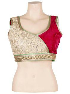 Pink and cream designer half n half blouse Saree Blouse Patterns, Saree Blouse Designs, Blouse Styles, White Saree Blouse, Indian Blouse, Choli Designs, Bridal Blouse Designs, Blouse Models, Beautiful Blouses