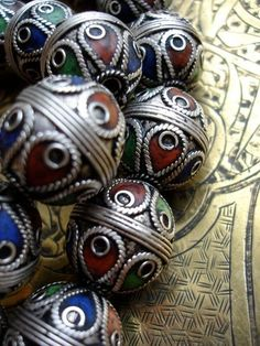 Morocco Enamel Jewelry | enamel and silver Moroccan Berber beads