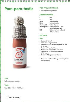 Knit your own mini version of our Strawberry Pom Pom hat with this #knitting #pattern from #innocent!