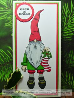 Christmas, gnome, Beccy's Place, House Of Cards, MHK Designs Deck The Halls