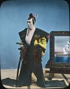Hand-coloured lantern slide. Japanese samurai Photo credit