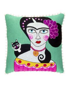 Got a love for art and cats? Look no further than this Frida Black Cat Cushion Cover from Ian Snow. Beautifully hand embroidered, it features the famous artist Frida Kahlo with a fancy feline. Cat Cushion, Cushion Pads, Cushion Covers, Pillow Covers, Colourful Cushions, Embroidered Cushions, Soft Furnishings, Throw Pillows, Cats