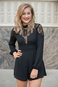 Lace mix long sleeve romper black from Lush Fashion Lounge