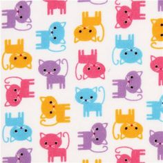 white flannel fabric small colorful cat by Robert Kaufman 1