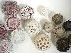 Ceramics, Cecilia Borghi, Artist, Porcelain Garden,  with oxblood glaze, reduction firing