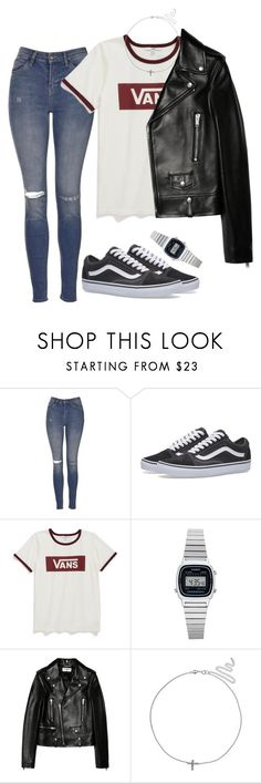"""Untitled #11"" by ijustwanttobe ❤ liked on Polyvore featuring Topshop, Vans, Casio, Yves Saint Laurent and Primrose"
