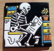 """Talavera Mexican tile Day of the Dead hi relief 4"""" Man Sitting Toilet Reading"""