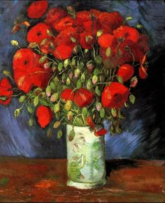 "Vincent van Gogh (1853-1890)  ""Vase with Red Poppies"" (1886)  Oil on canvas  Post-Impressionism  Located in the Wadsworth Atheneum, Hartford, Connecticut, United States    Flowers were the subject of many of van Gogh's paintings in Paris, and one of his many interests due in great part to his regard for flowers. He even advised sister, Wil, to cultivate her own garden, to help her find joy and meaning in life."