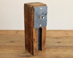 Driftwood Mantel Clock with Rusty Beach Metal by ReclaimedTime
