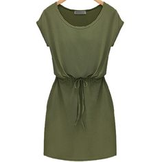 SheIn(sheinside) Green Workwear Short Sleeve Careers Drawstring Slim... (€16) ❤ liked on Polyvore featuring dresses, vestidos, robe, green, green jersey, green t shirt dress, t shirt dress, green dress and short sleeve dress