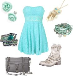 """teal country dress"" by allison-mk on Polyvore"