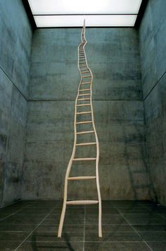 martin puryear, Ladder for Booker T. Washington (1996), a 36-foot-tall ladder, whose rungs diminish as they come closer to the far-away top. This work, refers to Washington's illusionary dreams about slow upward mobility
