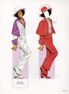 Sylvester Sly Stone Rock Music Legend Illustrated Paper Doll Cut-Out Print