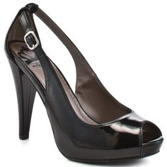 Mona - Black Patent  This classic pump will look sleek with your work wardrobe from Fergie. Mona has a black patent upper with cut out details on the side. This peep toe brings you an adjustable strap, 1/2 inch platform and 4 inch heel.  $39.99