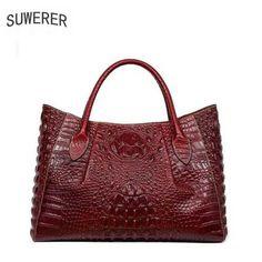 Promo $128.99, Buy 2017 New women bag genuine leather brands quality cowhide alligator grain embossing fashion women handbags shoulder big bag