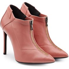 Roland Mouret Leather Ankle Boots (2100 QAR) ❤ liked on Polyvore featuring shoes, boots, ankle booties, pink, leather boots, bootie boots, stiletto booties, pink stilettos and short boots