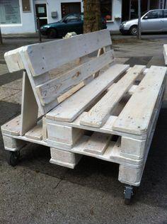 White pallet bench on rolls, Bochum