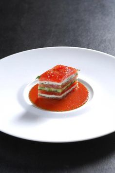 "Crabmeat ""mille-feuille"" layered with tomato, avocado and green apple, by Joel Robuchon #Mashpotato"