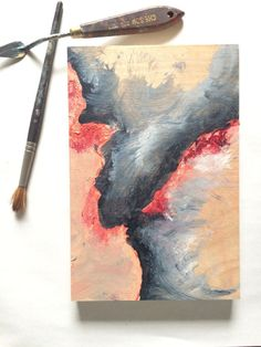 Abstract Art  Acrylic Painting  Coral and Gray  Art on Wood