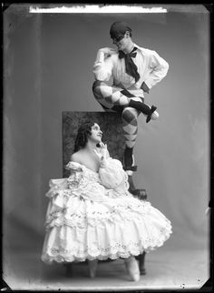 Fokin & Fokina, Stockholm 1914    Mikhail Fokin and Vera Fokina in the ballet Le carnaval.   Glass plate negative.