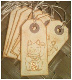 Manekineko Japanese Lucky Cat Golden Handmade by alohacookiegirl, $5.00