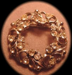 194050s Round Floral Silver Tone and Rhinestone by thejeweledbear, $10.00
