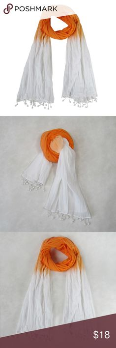 "ORANGE: Tie-Dye Crinkled Scarf; Handmade: Spring Overview Choose the color to match the season or your mood. This cotton crinkle scarf is a keeper for all seasons. Handmade, tie and dye with bead fringes  Product Details STYLE # EB-SCV-019 ORANGE TYPE: OBLONG MATERIAL: 100% Cotton DIMENSIONS: L 71"" x W 41"" WASH CARE: Hand wash cold, twist and leave to dry 7 Artisan Street ® Accessories Scarves & Wraps"
