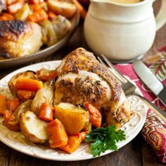 Super juicy, seasoned baked chicken, caramelized vegetables and the perfect creamy gravy.