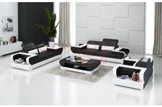 [STOCK] Canapés 3+2+1 places en cuir design OPAL, Gris + Beige, Cuir Italien…