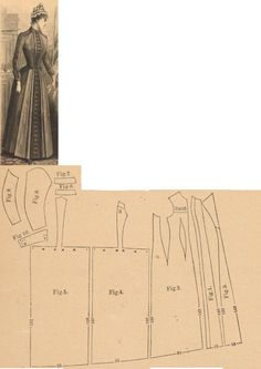 Der Bazar 1889: Dark red cashmere wrapper; 1. front insertion, 2. side part, 3. lapel, 4. and 5. back gores, 6. and 7. cuff and collar in half sizes, 8. and 9. sleeve parts, 10. cuff's lapel