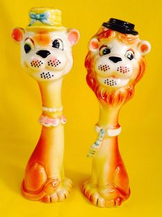 Rare! Circus Lion Vintage Anthropomorphic Salt and Pepper Shakers Lefton Tall | eBay