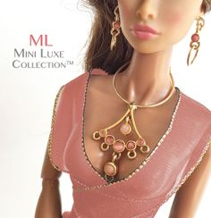 Dusty rose/pink and peach colors accent this gold tone doll necklace and earring set. Doll Jewelry for Fashion Royalty dolls, Poppy Parker and Barbie dolls by MiniLuxeCollection, $28.00
