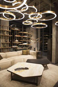 Golden rings in modern hospitality interior designs
