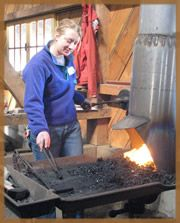 """Blacksmithing I This fast-paced introduction to smithing moves you through the fundamentals: basic hammer skills, heat treating, forge welding, and identification of """"found"""" steels. It gives a foundation of experience on which to build with practice. With an anvil for each student, there is plenty of hands-on learning and superb coaching in this popular class. This is an excellent start for either a hobby or a new occupation. $195"""