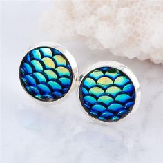 Mermaid Fish Scale Retro Stud Earrings - Rebel Style Shop - 1