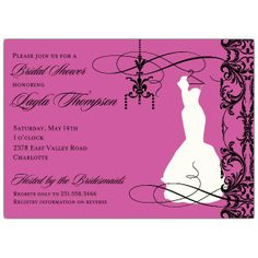 Chic Mod Bridal Gown Pink Bridal Shower Invitations
