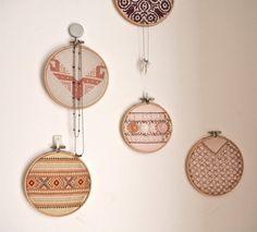 embroidery hoop art - ornaments