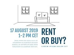 A creative template for a First-time buyers post. A simple white background with an illustration of inside a home and written text is also included.